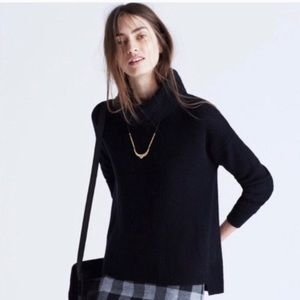 Madewell Black Knit Convertible Cowl Neck Sweater